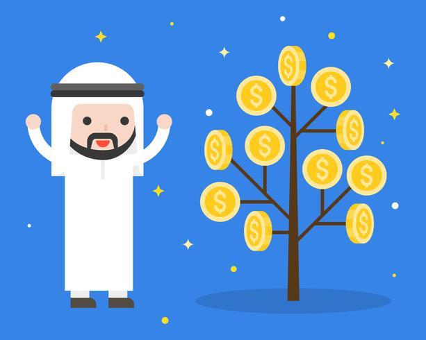 Netter arabischer Geschäftsmann glücklich weil Geldanlage, Geschäftslage vektor