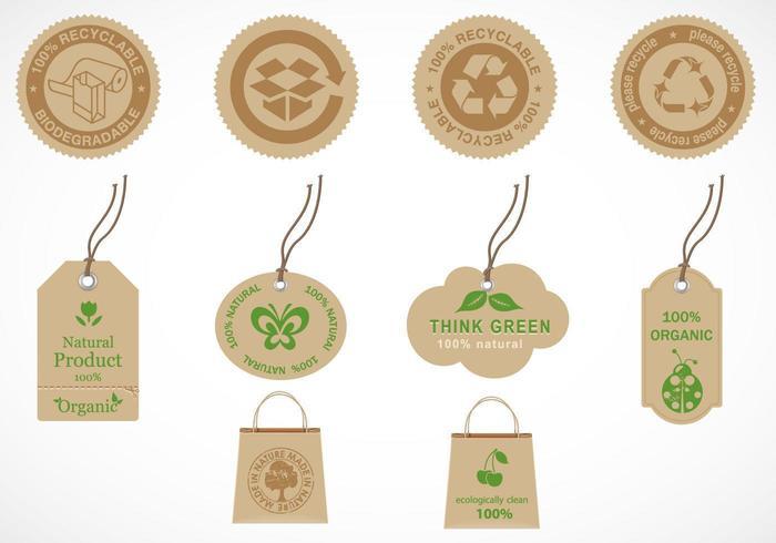 Återvinna och ekologiskt etikettvektorpaket vektor
