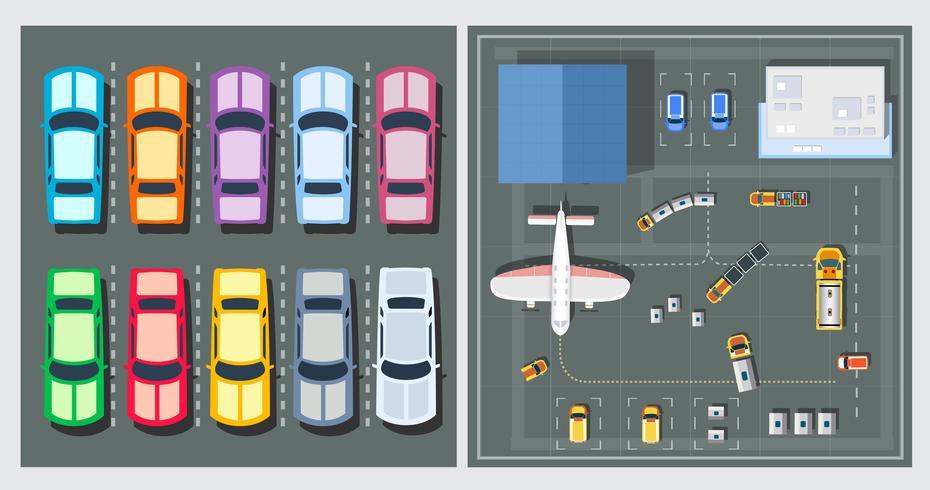 Draufsicht auf Flugzeuge vektor