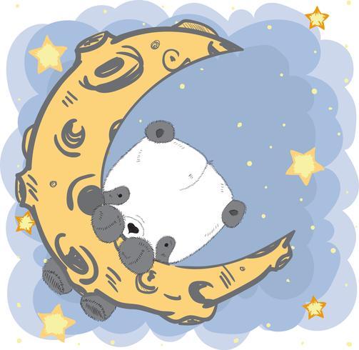 Gullig baby Panda på månen vektor