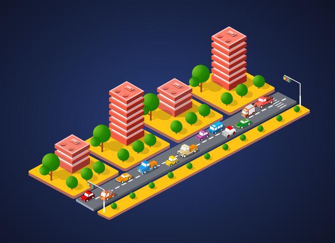 City Landscape 3d Färgglada vektor