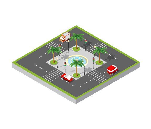 City isometrisk 3D korsning vektor