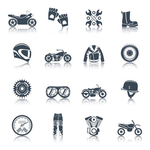 Motorcykel ikoner svart uppsättning vektor
