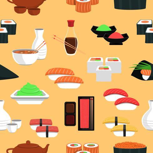 sushi sömlöst mönster vektor