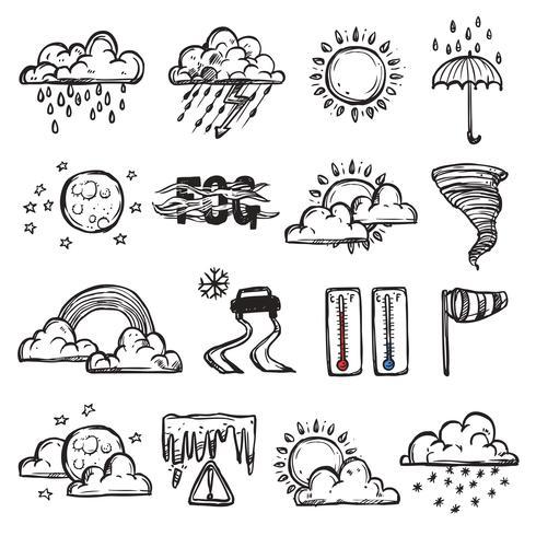 Doodle Wetter Set vektor