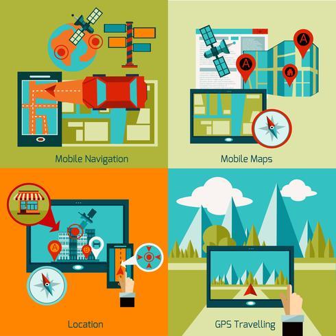 GPS-Navigationssatz vektor