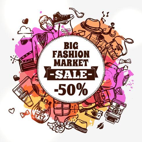 Hipster mode kläder rabatt doodle ikon vektor