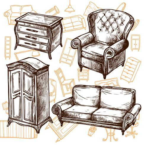 Möbel-Skizze-nahtloses Konzept vektor