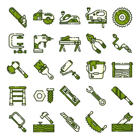 Carpenter ikoner packa vektor