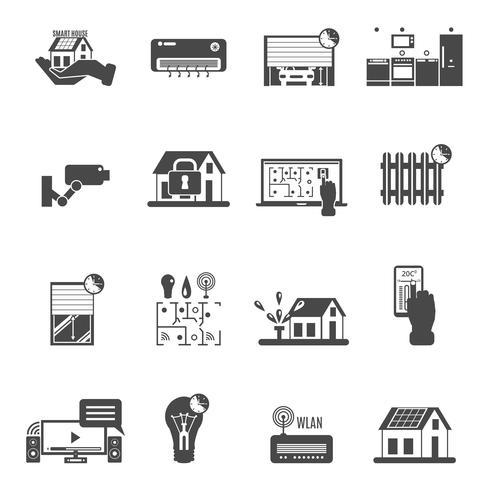 Intelligente Haus-Schwarz-weiße Ikonen eingestellt vektor