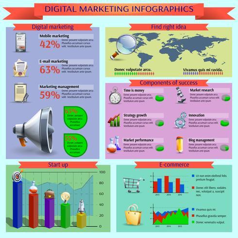 Digital marknadsföring management infographic rapport layout vektor