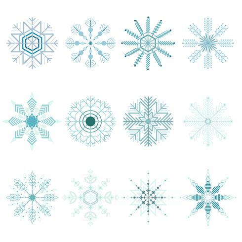 Snöflingor jul uppsättning vektor