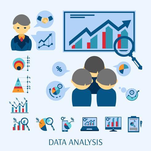 Dataanalys begrepp platt ikon komposition vektor