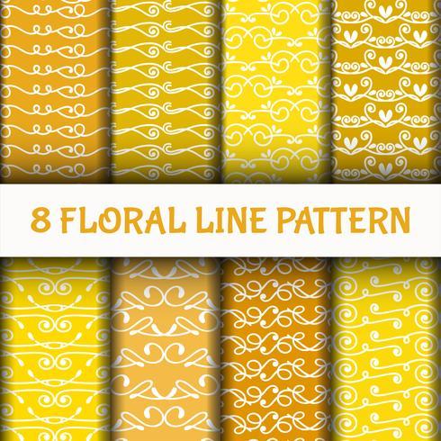 8 Ställ abstrakt linje konstmönster vektor