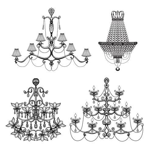 Dekorativ ljuskrona Set vektor
