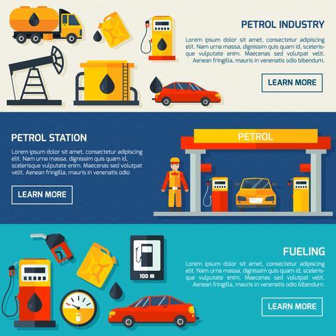 Gas bensinstation platt banners set vektor