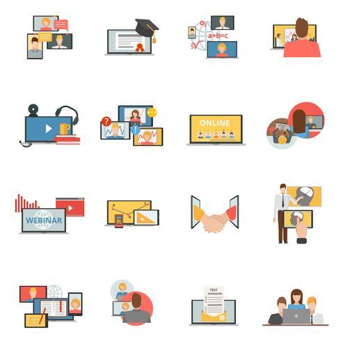 Webbsamarbete webinariska plana ikoner vektor