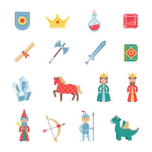 Flache Ikonen der mittelalterlichen Spielsymbole eingestellt vektor