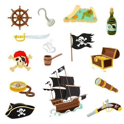 Piratillbehör platta ikoner uppsättning vektor