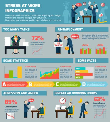 Infografischer Bericht zum Thema Stress und Depression vektor