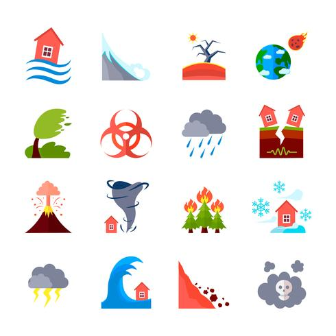 Icons Set von Naturkatastrophen vektor