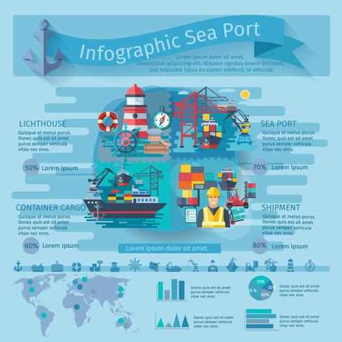 Seehafen Infografiken Set vektor