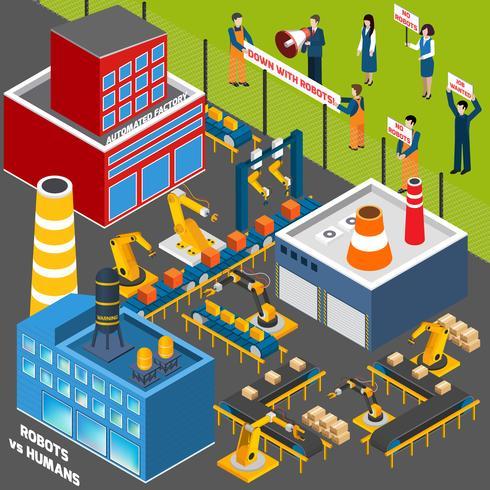 Människor mot automationsindustrin vektor