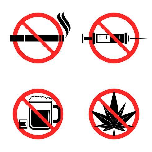 Keine Drogen Icons Set vektor