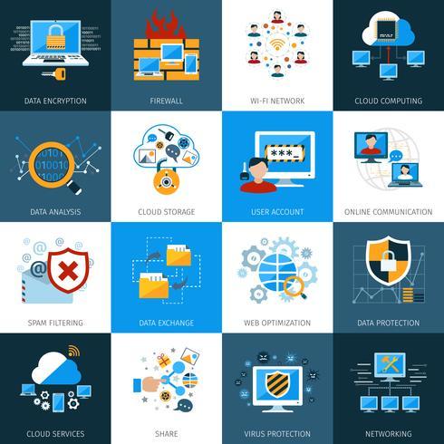 Symbole für die Netzwerksicherheit vektor