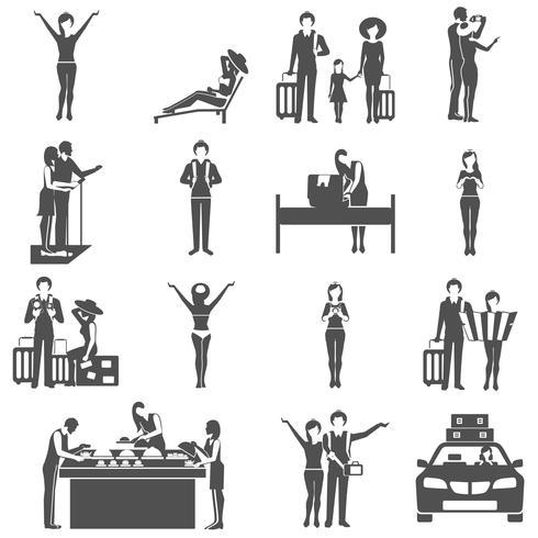 Internationell turism som reser med svart ikoner vektor