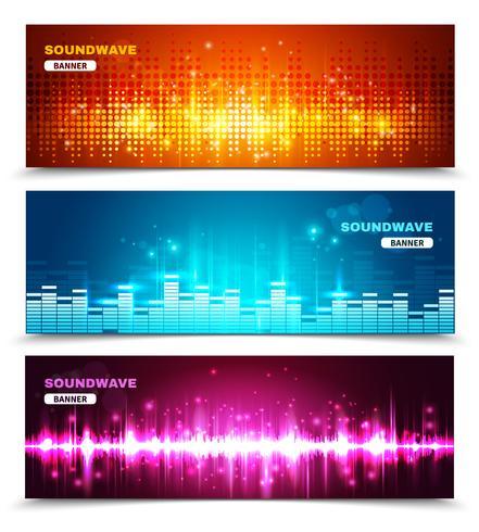 Equalizer-Schallwellen anzeigen Banner eingestellt vektor