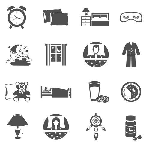 Schlafzeit Icons Set vektor