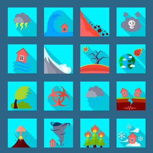 Naturkatastrof platt ikoner uppsättning vektor