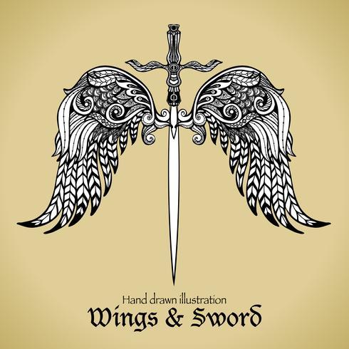 Flügel und Schwert vektor