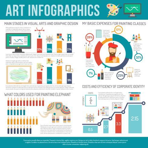 Kunst Infografiken Set vektor