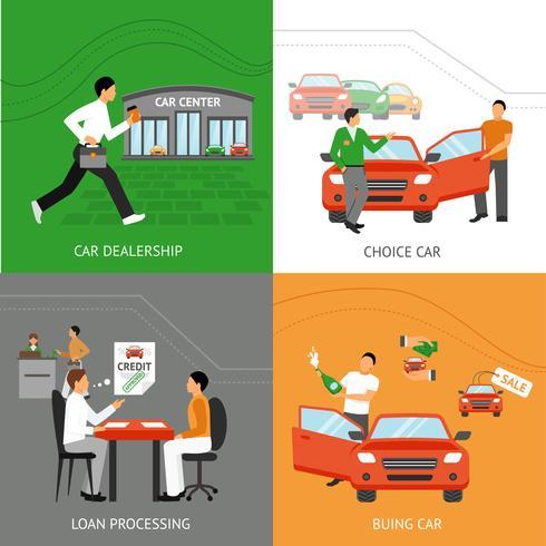 bilhandlare designkoncept vektor