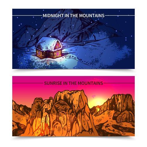 Berge Mitternacht und Sonnenaufgang Banner vektor