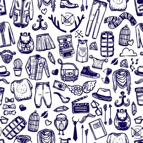 Hipster mode kläder klotter sömlösa mönster vektor