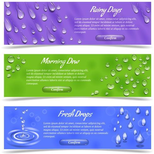 Vatten Drop Banner Set vektor