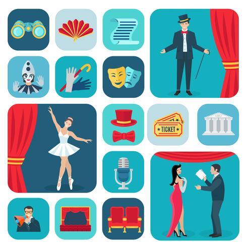 Teater ikoner platt uppsättning vektor