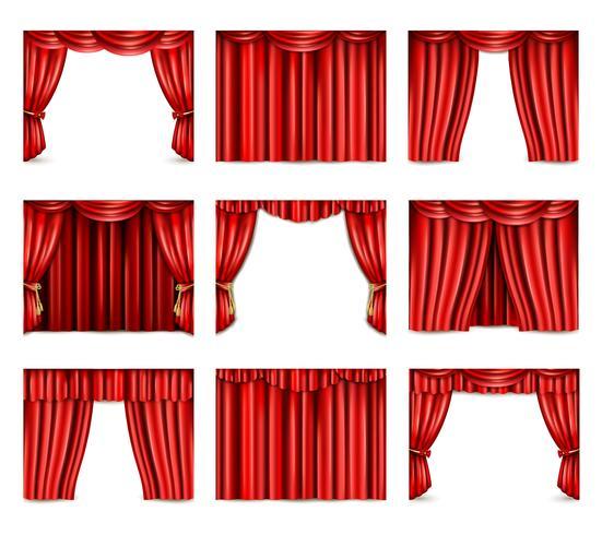 Teater gardin ikoner Set vektor