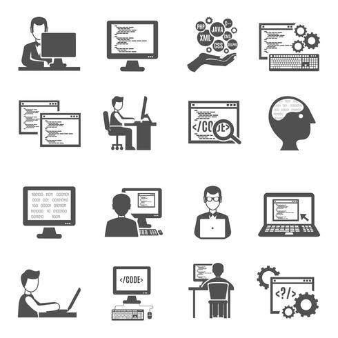Programmierer Icons Set vektor