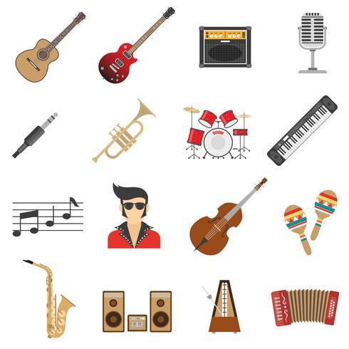 Musik-Icons flach vektor