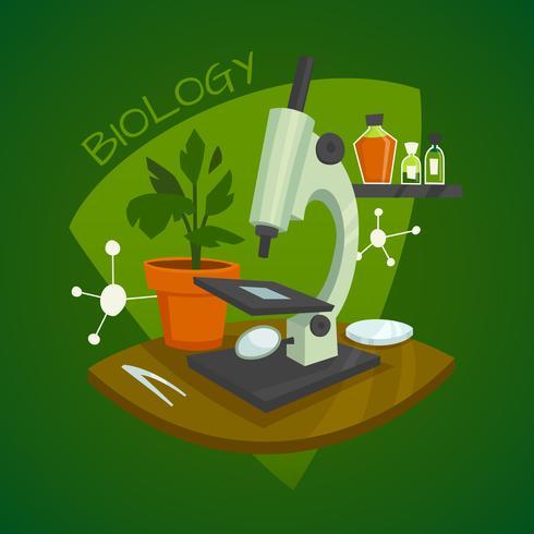 Biologie-Laborarbeitsplatz-Konzept des Entwurfes vektor