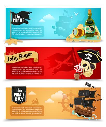 Flache Banner der Piraten eingestellt vektor