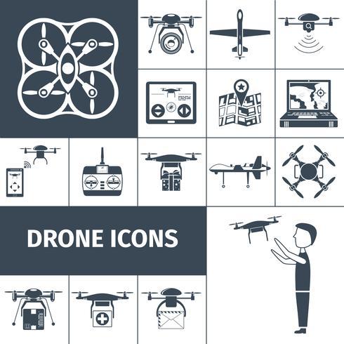 Drone Ikoner Svart vektor