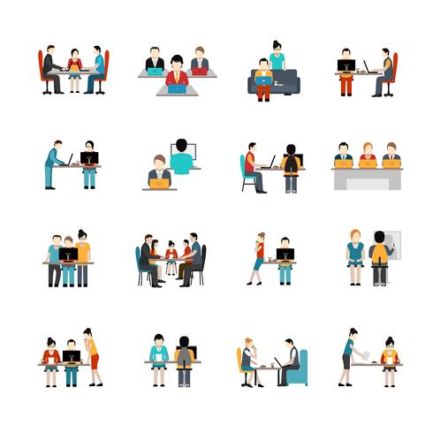 Coworking Space Icons Set vektor