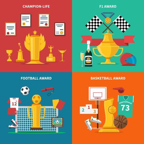 Sport Auszeichnungen Icons Set vektor