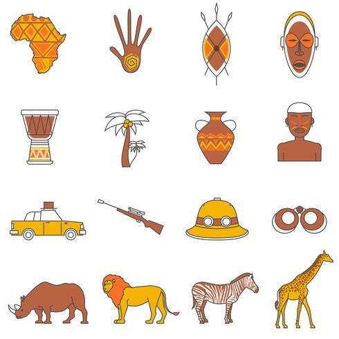 Safari ikoner inställda vektor