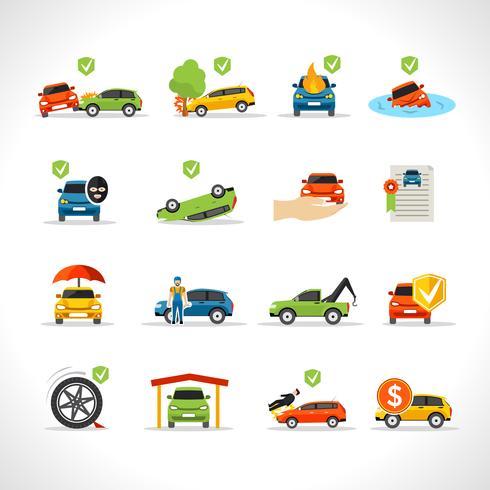 Bilförsäkring ikoner Set vektor
